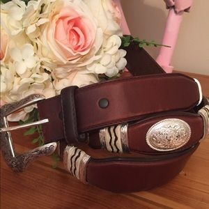 Men's Tony Lama Western Leather Belt with Conchos
